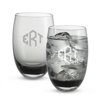 Set of Two Smoke Tumblers with Monogram - Two for $20 Sets including Monogram