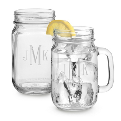 Set of Two Mason Drinking Jars with Monogram - Two for $20 Sets including Monogram