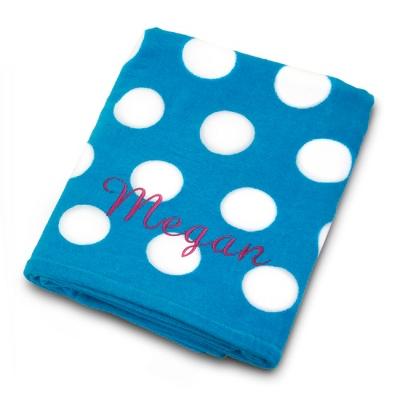 Aqua and White Polka Dot Beach Towel - Towels & Soap