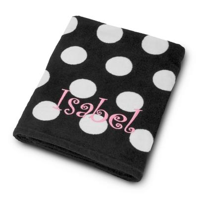 Black and White Polka Dot Beach Towel - Towels & Soap