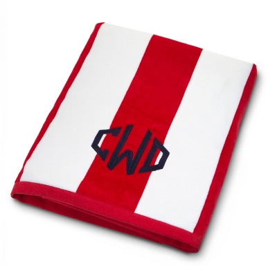 Red and White Cabana Stripe Beach Towel