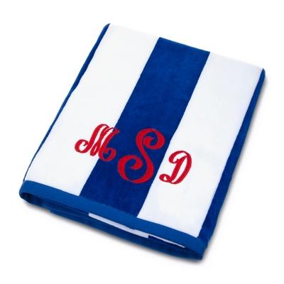 Blue and White Cabana Stripe Beach Towel - Towels & Soap