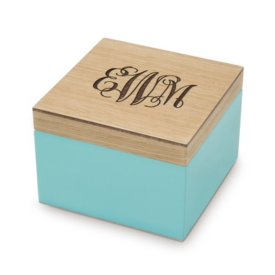 Small Aqua Wooden Box