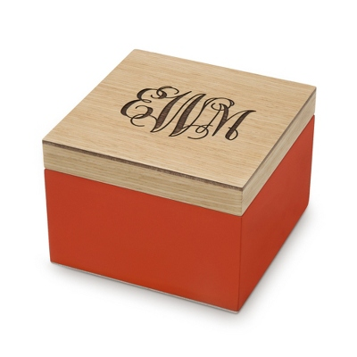 Small Orange Wooden Box