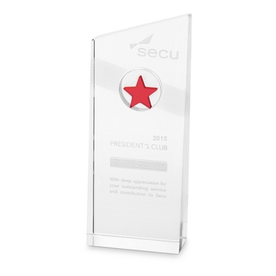 Red Nebula Etched Crystal Award