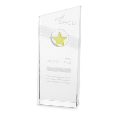 Amber Nebula Etched Crystal Award