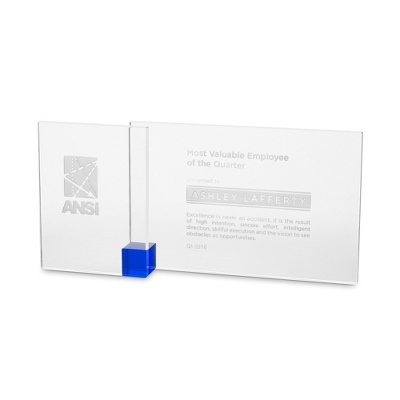 Blue Shadow Etched Crystal Award