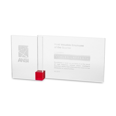 Red Shadow Etched Crystal Award - $75.00
