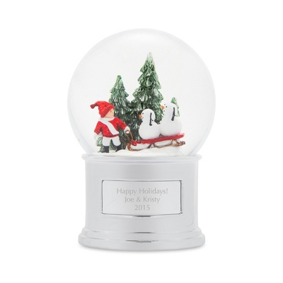 Make-A-Wish Sledding Snowmen Snow Globe