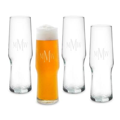 Set of 4 16 oz. Pilsner Evolution Glasses with Monogram