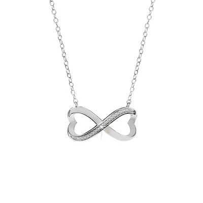Sterling Silver Infinity Hearts Diamond Necklace with complimentary Filigree Heart Box