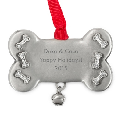 Pewter Dog Bone Ornament
