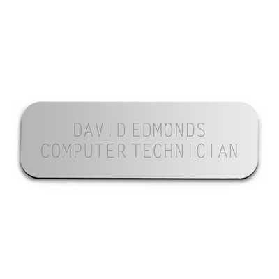 1 x 3 Silver Plastic Name Badge