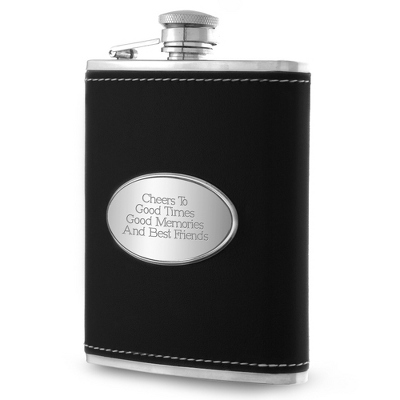 Personalized Black Leather Flask - $24.99