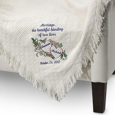 Embroidered Blanket Wedding Gift