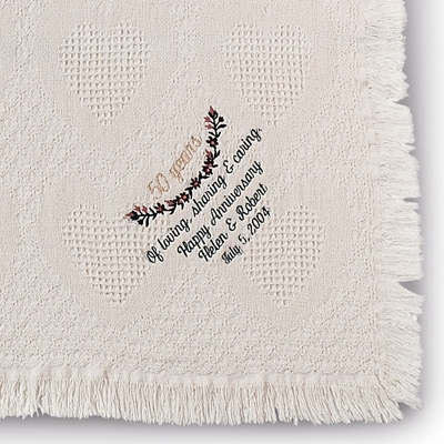 Personalized 50th Anniversary Embroidered Blanket