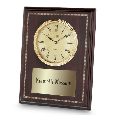 High Gloss Mahogany Clock Plaque - Awards & Plaques