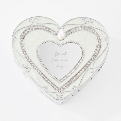 Regal Elegance Heart Keepsake Box with Crystals