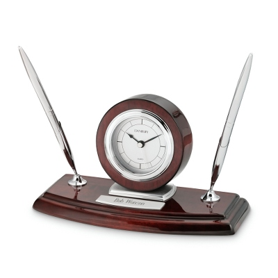 Mahogany/Silver Clock with Double Pen Stand - Business Gifts For Her