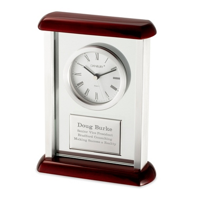 Mahogany Silver Dial Clock - Business Gifts For Her