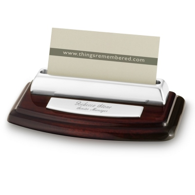 High Gloss Mahogany Silver Card Holder - Business Gifts For Him