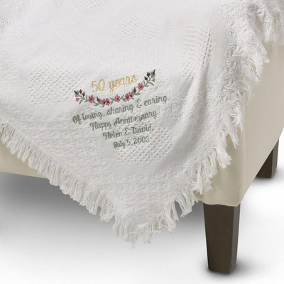 Embroidered Wedding Anniversary Personalized Heart Afghan