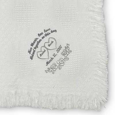 White Heart Marriage Throw - Wedding Throws