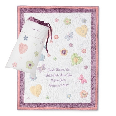 Butterflies & Flowers Quilt - Baby Gifts for Girls