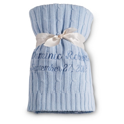 Blue Knit Blanket - Baby Gifts for Boys