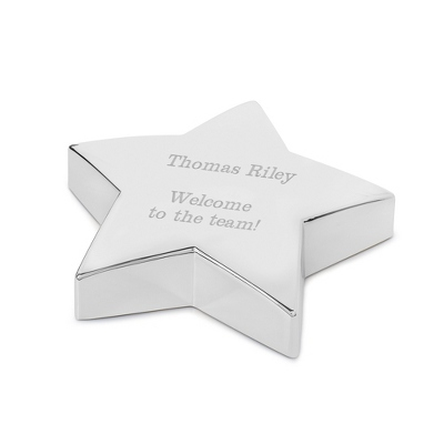 Personalized Silver Star Paperweight - $20.00