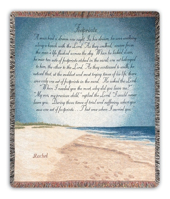 Footprints in the Sand Throw - Religious & Inspirational Gifts