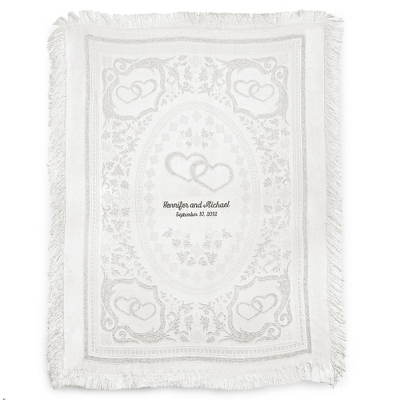 Silver Double Hearts Throw