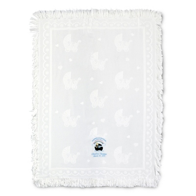 Baby Carriage Throw with Boy's Noah's Ark Design