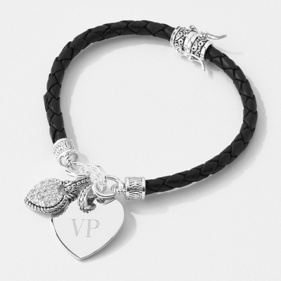In My Heart Bracelet Collection: Black Braided Leather with complimentary Filigree Keepsake Box