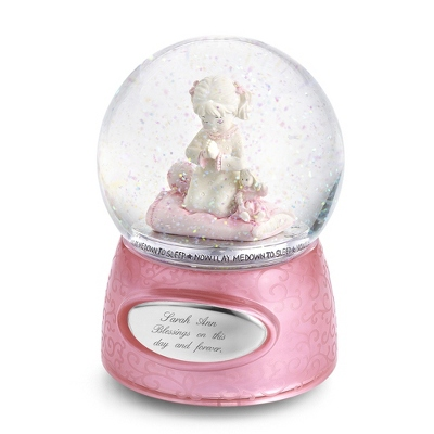 Praying Girl Musical Snow Globe - Flower Girl