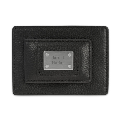 Personalized Black Leather Money Clip with Card Holder by Things Remembered