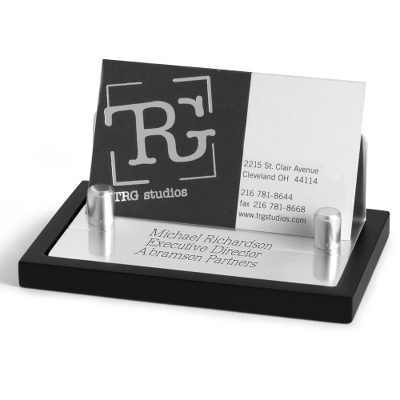 Engraved Business Card Holder for Desk
