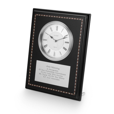 Black Marquetry Plaque with Clock