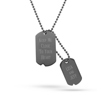 Engraved Gunmetal Double Dog Tag- Vertical with complimentary Tri Tone Valet Box