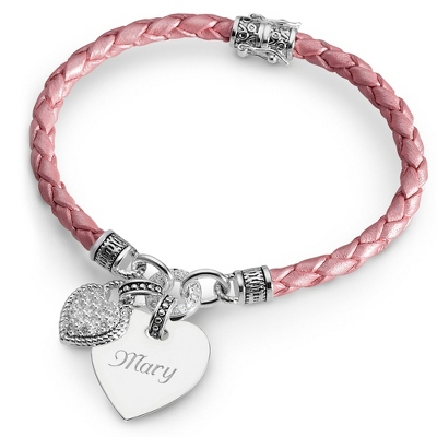 In My Heart Bracelet Collection: Pink Braided Leather with complimentary Filigree Keepsake Box - $30.00