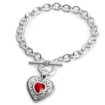 Silver Heart Birthstone Bracelet with complimentary Filigree Oval Box