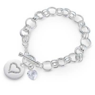 Heart Crystal Bracelet with complimentary Filigree Oval Box
