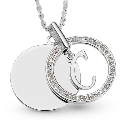 Initial C Swing Necklace with complimentary Filigree Keepsake Box