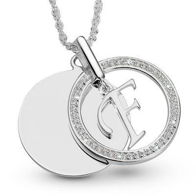 Initial F Swing Necklace with complimentary Filigree Keepsake Box