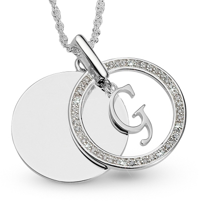 Initial G Swing Necklace with complimentary Filigree Keepsake Box