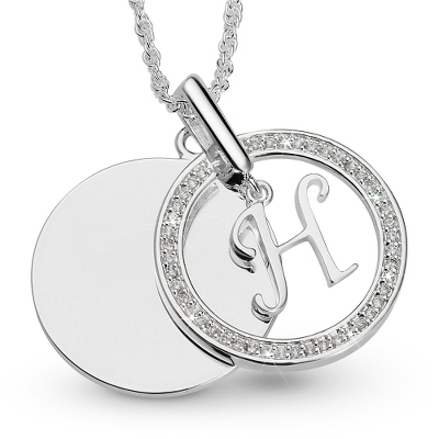 Initial H Swing Necklace with complimentary Filigree Keepsake Box - UPC 825008177499