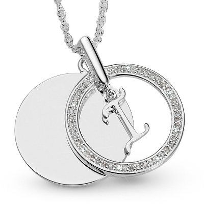 Initial I Swing Necklace with complimentary Filigree Keepsake Box