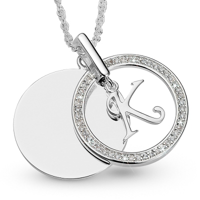 Initial K Swing Necklace with complimentary Filigree Keepsake Box