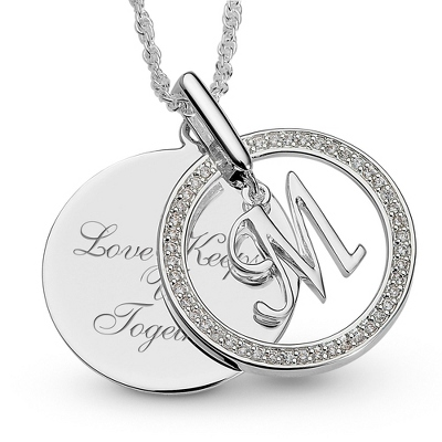 Initial M Swing Necklace with complimentary Filigree Keepsake Box