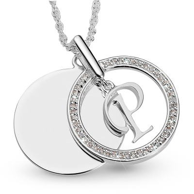 Initial P Swing Necklace with complimentary Filigree Keepsake Box - UPC 825008177574